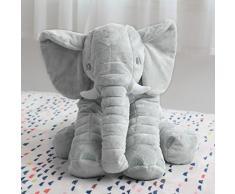 CRAVOG Nouvelle Mollet Peluche éléphant Oreiller Coussin Animal Grande Jouet Poupée Pour Enfant Bébé 60, 40 cm (Taille Grande (40 cm), Gris)