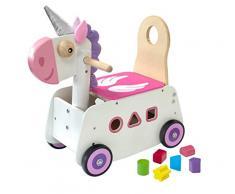 I'M Toy - IM87890 - Porteur En Bois Pour Bébé La Licorne - Porteur Chariot Marche Évolutif Pour Bébé - Coffre En Bois , Pousseur , Trieur De Formes - Jouet En Bois 12 Mois