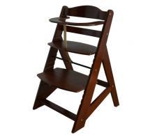 Chaise Haute en bois Ajustable Chaise bébé Escalier chaise haute BRUN HC2533-D02 Creme