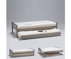 Weber Industries 239044 Justin Lit Gigogne avec Sommier Laqué Gris Taupe 199 x 99 x 56,5 cm