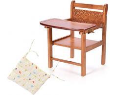 LIANYANG Chaises hautes pour bébé pour lalimentation Chaise en bois massif pour la chaise de salle à manger Chaise de table pour enfants Chaise pliante portative Multi-usages pour manger siège Tabour