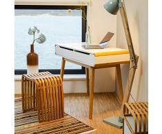Relaxdays Bureau avec tiroirs en bois table ordinateur coiffeuse table maquillage coins arrondis bureau enfant HxlxP: 73 x 100 x 45 cm, blanc
