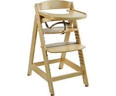 roba Chaise haute évolutive Sit Up MAXI, chaise haute en bois extra-grande, avec plateau et arceau de sécurité, chaise haute qui suit la croissance de votre enfant, de chaise haute dévient chaise