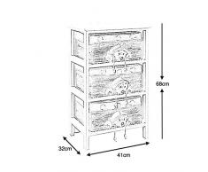 Commode pour enfant 3 tiroirs en bois et corde