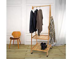 Porte-manteaux Étagère à chaussures avec roulettes Tringle Meuble de couloir