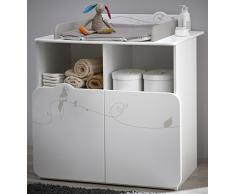 Commode table à langer avec 2 portes et 2 niches, Coloris blanc motif jungle, 87 x 101 x 73 cm -PEGANE-
