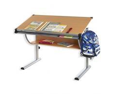 IDIMEX Bureau Enfant écolier Junior Christina Table à Dessin réglable en Hauteur et Plateau inclinable avec Tablette en MDF Couleur hêtre, Structure en métal