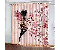 Rideau Occultant 3D À Oeillets - Fille Noire Imprimée Rose - Rideau Occultant Décor Moderne pour Chambre denfants Accroché À La Tringle À Rideau - 150X166Cm