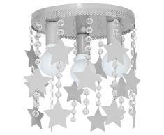 9753 Lustre en acier de plafond pour chambre d'enfant, plafonnier elza3 étoile, grise.