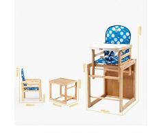 Chaise Haute bébé Chaise Haute Évolutive Chaise multifonctionnelle en Bois Massif ZHANGQIANG (Couleur : Bleu, Taille : Large)