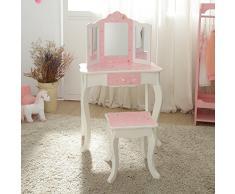 Coiffeuse enfant Teamson bois table maquillage miroir tabouret fille TD-11670K