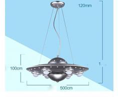 Lampe de chambre à coucher enfant créatif lustre UFO soucoupe volante LED le salon étudier lampe , silver