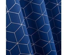 Deconovo Lot de 2 Rideaux à Oeillets Isolant Thermique Motif Geometique Imprimés Argents Rideaux Occultants pour Enfant Garcon Bleu 117x183cm