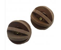 jouet Balle en bois non traité avec grelot pas très cher pour vos chiens choits chats rats