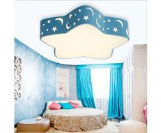 Azanaz LED Plafonnier Chambre à coucher moderne minimaliste Lumière Lampe pour enfant à LED romantique avec des étoiles et un design de lune Pentagonal Étoiles Modèle (Bleu)