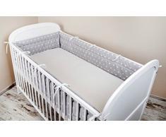 Ami Lian® tour de lit Nid Tête Protection Tour de lit 420 x 30 cm, 360 x 30 cm, 180 x 30 cm équipement de lit tour de lit bébé Protection des Bords astérisque Gris.