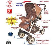 Poussette bébé 4 roues combiné 2en1 (poussette+siège auto Groupe 0+) - Guidon réversible - Coloris : chocolat
