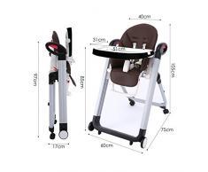 Smibie Chaise Haute Bébé Enfant Chaise Pliante Réglable Inclinable Chaise Multi-usage réglable hauteur dossier et tablette-Chocolat