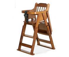 DEI QI Salle à Folding Portable en Bois Massif Chaise bébé Enfant Chaise Pedal réglable avec Les Pieds antidérapants (Couleur : Marron)