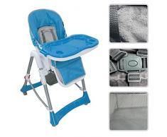 Todeco - Chaise Haute pour Bébé, Chaise Pliante pour Bébé - Taille déployée: 105 x 75 x 60 cm - Matériau: PP - Bleu