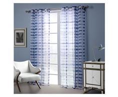 Darget Rideau Voilage Souple à Oeillets Rideau Transparent en Effet Lin Décoration de Fenêtre pour Chambre Enfant Salon 1Pc (132X213cm, Blanc et Bleu)