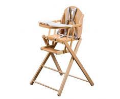 Tineo chaise haute pliante vernis naturel