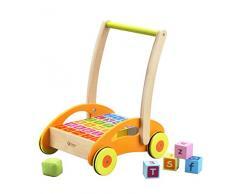 Chariot de marche bébé en bois avec cubes (chiffres, lettres) - dès 12 mois