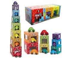 GARAGE pour VOITURE Jouet EMPILABLE et ENCASTRABLE 7 cubes + 7 voitures en bois numérotées pour enfant 2 ans +
