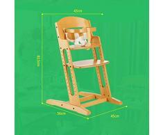 Chaise Haute Bébé Chaise Haute Évolutive Chaise Pliante Multifonctionnelle en Bois Massif ZHANGQIANG (Couleur : Couleur du Bois, Taille : Large)