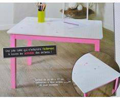 Table en bois pour enfant - Rose et blanche