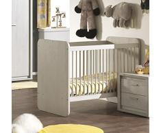 Lit bébé évolutif moderne coloris chêne gris doux
