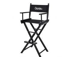Chaise de directeurs haute pliante fauteuil portable noir