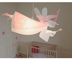R&M Coudert Lampe de Plafond Suspension Chambre Enfant Fee Blanc et Rose