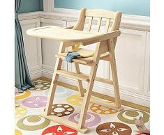 GJJSZ Chaise de Salle à Manger pour Enfants en Bois Massif Installation Gratuite Pliage Multifonctionnel (Hauteur Non réglable) Chaise dapprentissage pour bébé 1-4 Ans,Couleur de bûche,1