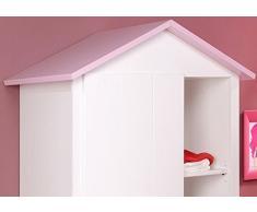 Armoire Blanche et Rose pour Chambre Fille, L 112 x H 181 x P 60 cm -PEGANE-