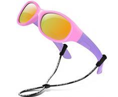 RIVBOS RBK103 UV400 Protection Enfants lunettes de soleil pour enfants Mirrored Objectif Lunettes Outdoor Lunettes de Soleil pour Bébé et le Enfant Rond Lustre rose