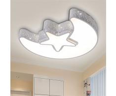 Matcose créative méditerranéenne européenne moderne Led pour chambre d'enfant lampes de plafond de chambre à l'environnement pour les garçons et filles Cartoon/LED à intensité réglable avec télécommande Plafonnier Lune