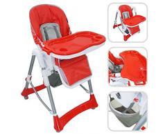 Babyfield - Chaise haute règlable pour bébé - Chaise rouge avec tablette pour enfants de 6 mois à 3 ans