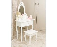 Runesol Coiffeuse pour Fille avec Tabouret et Miroir, Petit Table de Toilette pour Enfant idéale pour Les Filles 3-7 Ans, Coiffeuse en Bois Blanche de Maquillage denfants