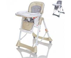 LCP Kids Chaise Haute Bébé et Enfant Réglable de Hauteur et Dossier, Pliante Inclinable avec Tablette - Beige