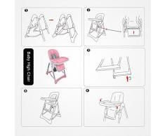 Domaier - Chaise Pliante pour Bébé, Chaise Haute pour Bébé, Rose, Taille déployée: 105 x 75 x 60 cm, Poids: 8,90 kg