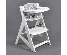 Chaise Haute en bois Ajustable Chaise bébé Escalier chaise BLANC 6551-W