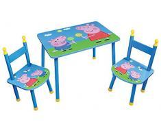 Fun House Peppa Pig Table avec 2 Chaises pour Enfant, MDF/Métal, 60 x 40 x 44 cm