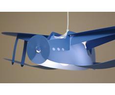 R&M Coudert Lampe de Plafond Suspension Chambre Enfant Avion Bleu