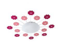 Eglo 92147 Chambre d'enfant plafonnier filles et les garçons VIKI 1 avec rosafarbigen Fleurs, diamètre 61,5 cm, acier