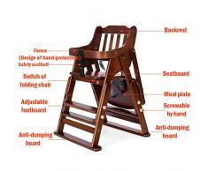 IMBM STYLE Chaise d'alimentation pour bébé, Chaise d'alimentation en Bois Solide en Bois Massif, réglable et multifonctionnelle pour 1-6 Ans,C