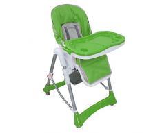 Todeco - Chaise Haute pour Bébé, Chaise Pliante pour Bébé - Taille déployée: 105 x 75 x 60 cm - Matériau: PP - Vert