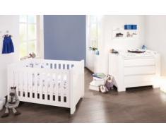 Chambre bébé Sky blanc: Lit évolutif et commode à langer Pinolino