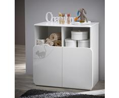 Demeyere 147977 Commode Table A Langer 70X55CM 2 Portes/2 NICHES Kitty, Panneau de Particules/MDF, Blanc/Taupe