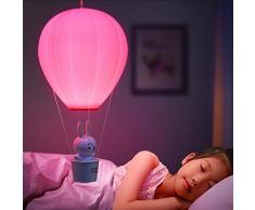 Lugii Cube enfant bébé Chambre d'enfant lampe avec interrupteur tactile USB rechargeable lampe murale pour enfants Chambre à coucher intensité variable montgolfière LED Lumière de nuit, rose